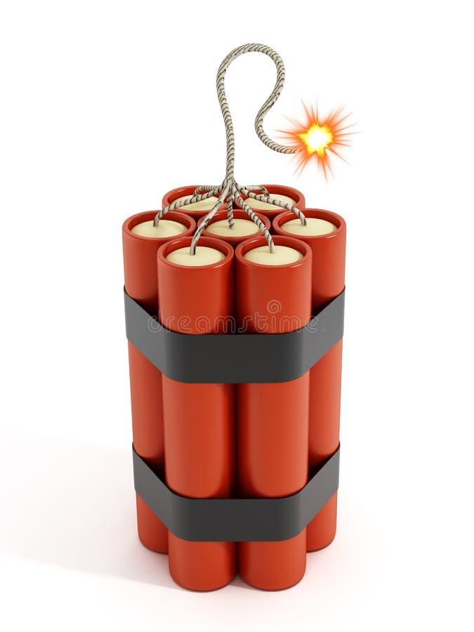 Spränger med dynamit med brinnande flament stock illustrationer