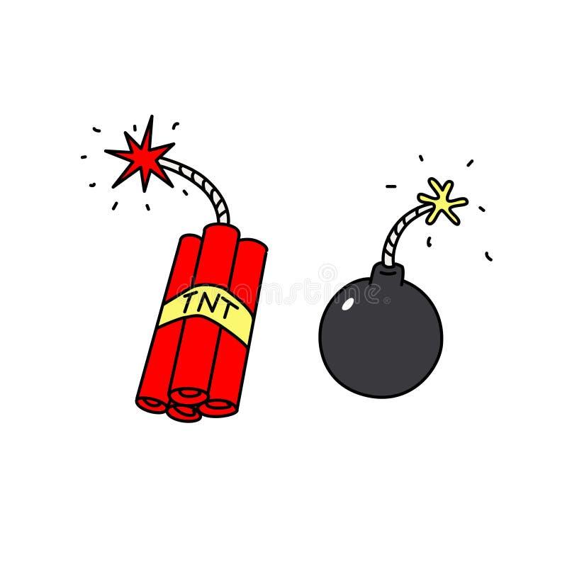 Sprängmedelsymboler vektor Vapen av terrorister Tecknad filmstil bombardera dynamit royaltyfri illustrationer