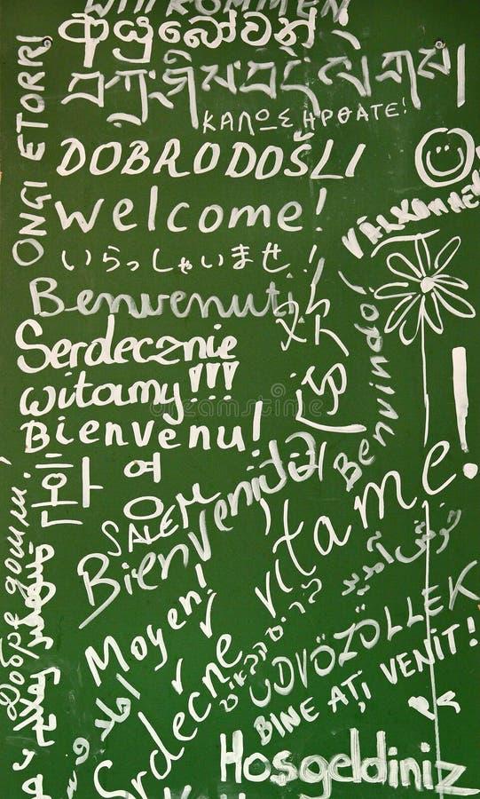 språk många välkomnar royaltyfria foton
