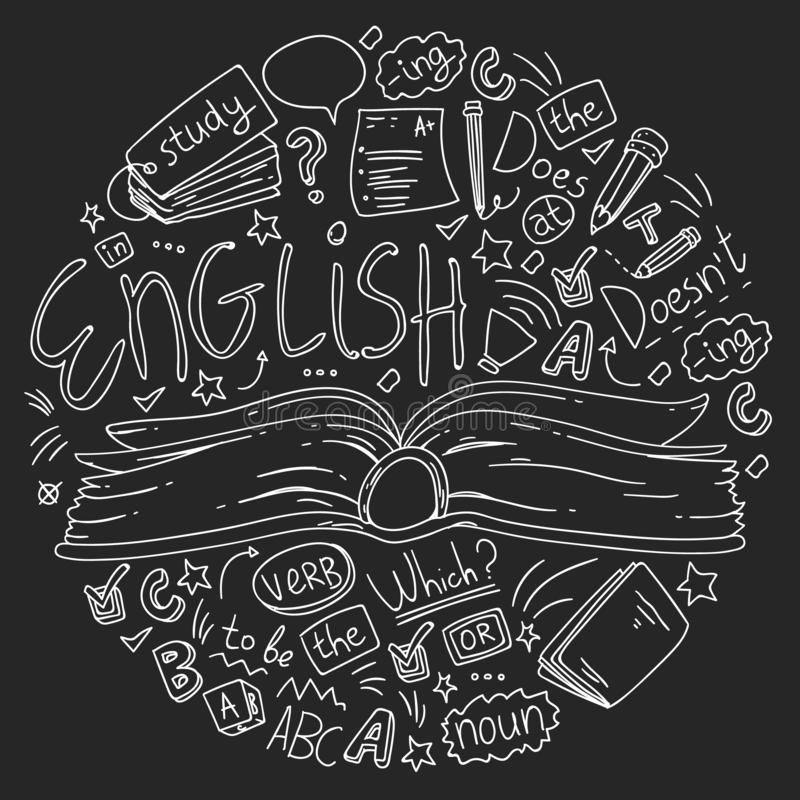 Språkskola för vuxna människan, ungar Engelska kurser, grupp stock illustrationer