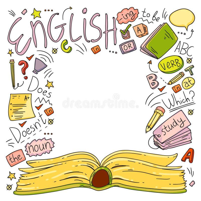 Språkskola för vuxna människan, ungar Engelska kurser, grupp vektor illustrationer
