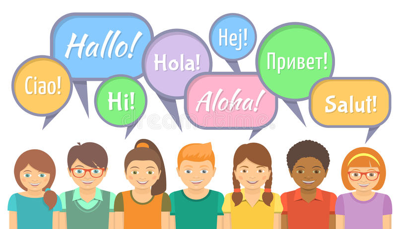 Språkskola med lyckliga ungar som säger Hello royaltyfri illustrationer