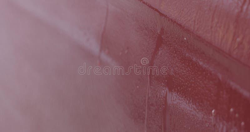 Sprühentfettungsmittel der roten Waschanlage der Nahaufnahme auf Farbe stockfoto