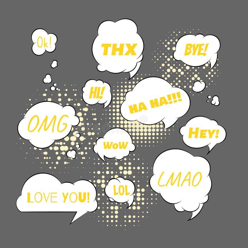 Spraakbelletjes met verschillende zinnen: thx, bye, omg, haha, hi en hallo Hou van je LOL en WOW Vectorreeks van dialoog royalty-vrije illustratie