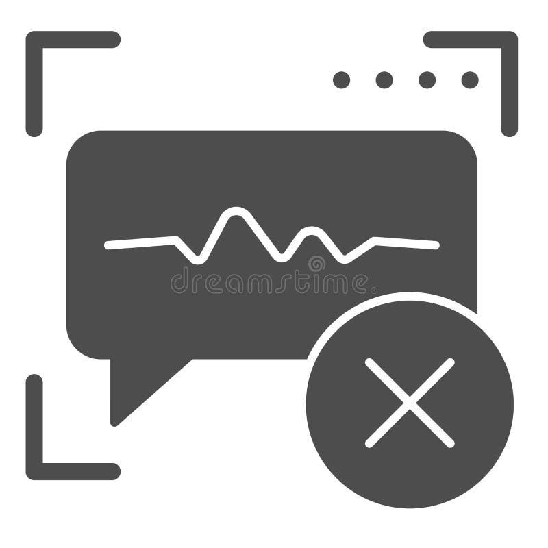 Spraakherkenning ontkend stevig pictogram Correcte identificatie verkeerde vectordieillustratie op wit wordt geïsoleerd stem stock illustratie