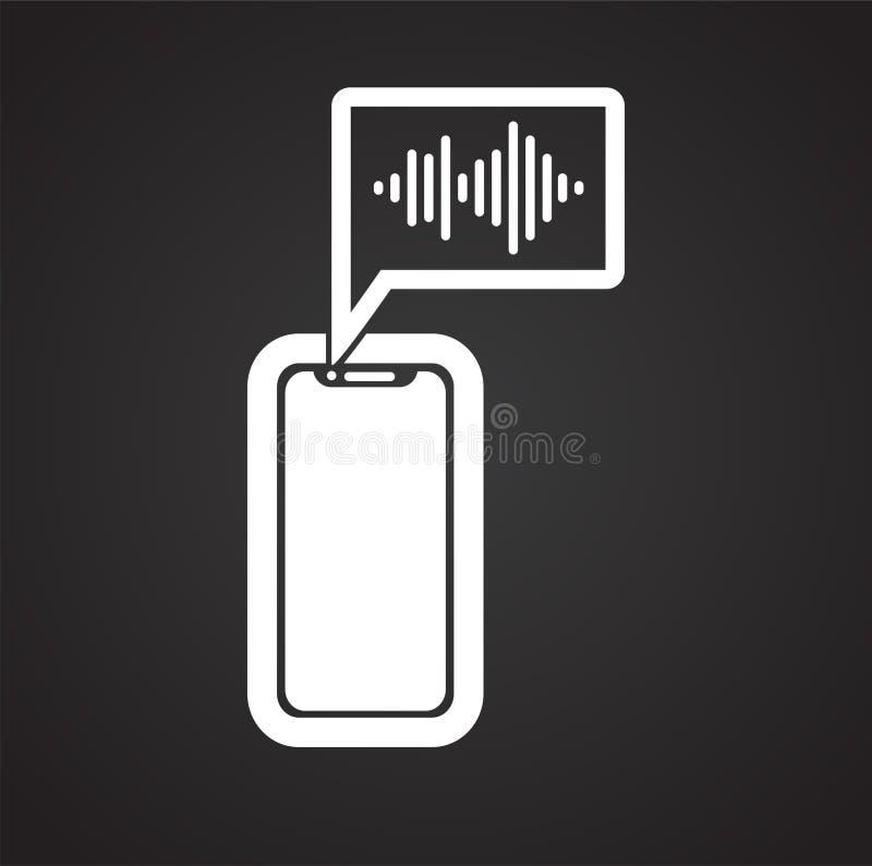 Spraakherkenning op apparaat op zwarte achtergrond voor grafisch en Webontwerp, Modern eenvoudig vectorteken Het concept van Inte stock illustratie