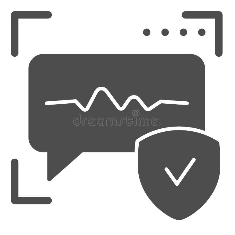 Spraakherkenning stevig pictogram Correcte identificatie vectordieillustratie op wit wordt geïsoleerd Stemauthentificatie glyph stock illustratie
