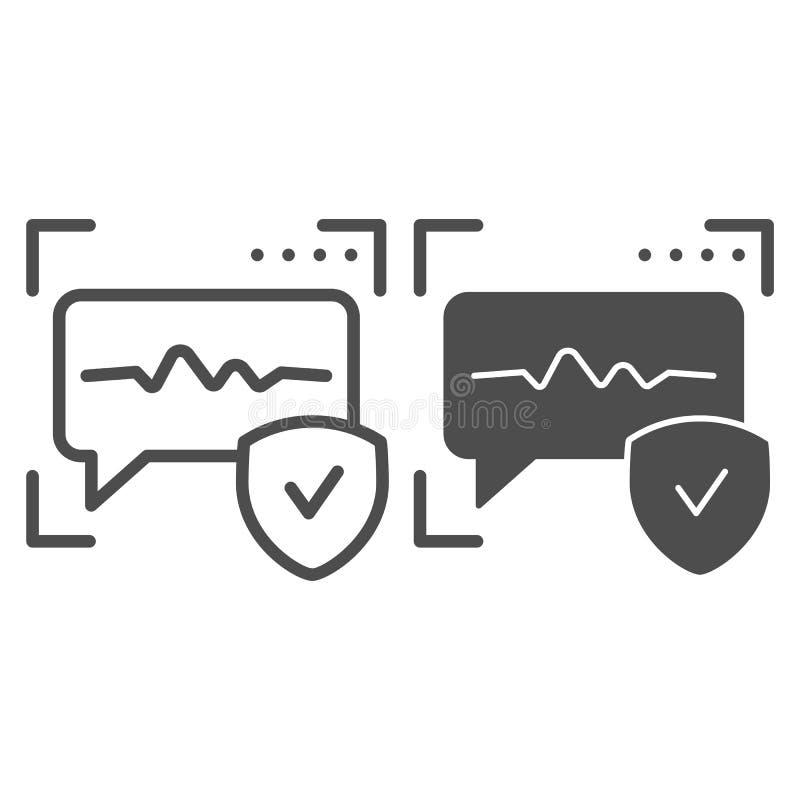 Spraakherkenninglijn en glyph pictogram Correcte identificatie vectordieillustratie op wit wordt geïsoleerd Stemauthentificatie vector illustratie