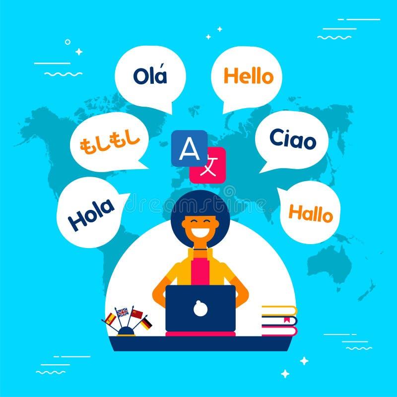 Sprachübersetzermädchen, das Social Media-APP verwendet stock abbildung