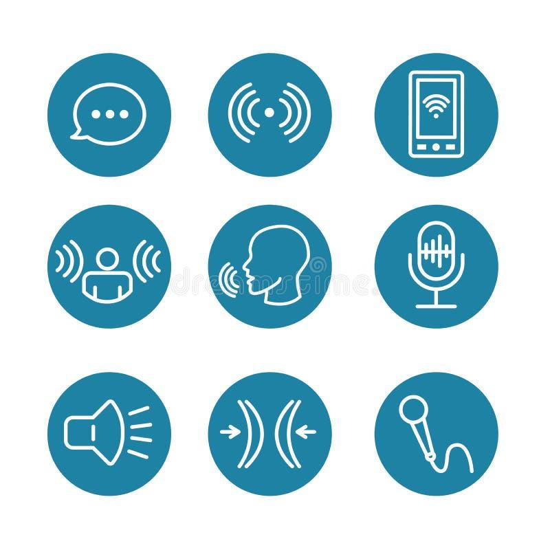 Sprachaufnahme u. Stimmenüberlagerungs-Ikone eingestellt mit Mikrofon, Sprachscan stock abbildung