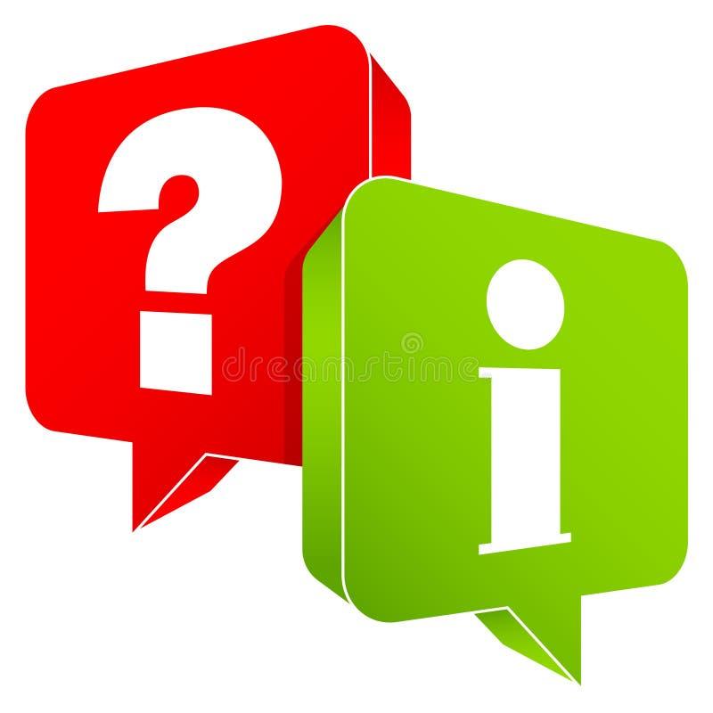 Sprache-Blasen stellen die roten und grünen Informationen in Frage stock abbildung