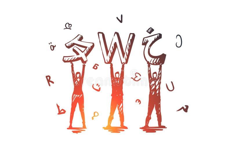 Sprache, Kurse, Englisch, studierend, Klassenkonzept Hand gezeichneter lokalisierter Vektor lizenzfreie abbildung