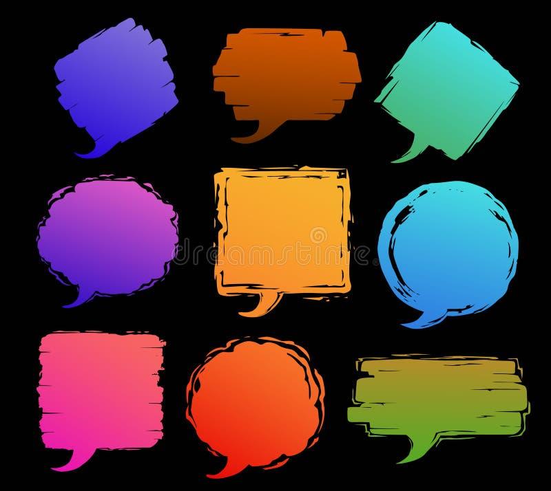 Sprache-Textrahmen des Pinselschlagmanns packt grungy beunruhigte strukturierte verschiedene Formblasen ein stock abbildung