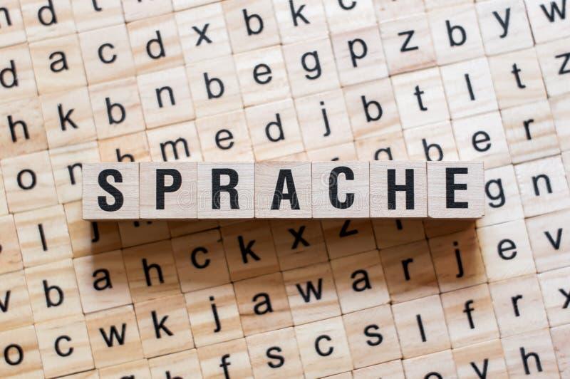 Sprache - Wort Sprache auf deutscher Sprache, Wortkonzept stockbild
