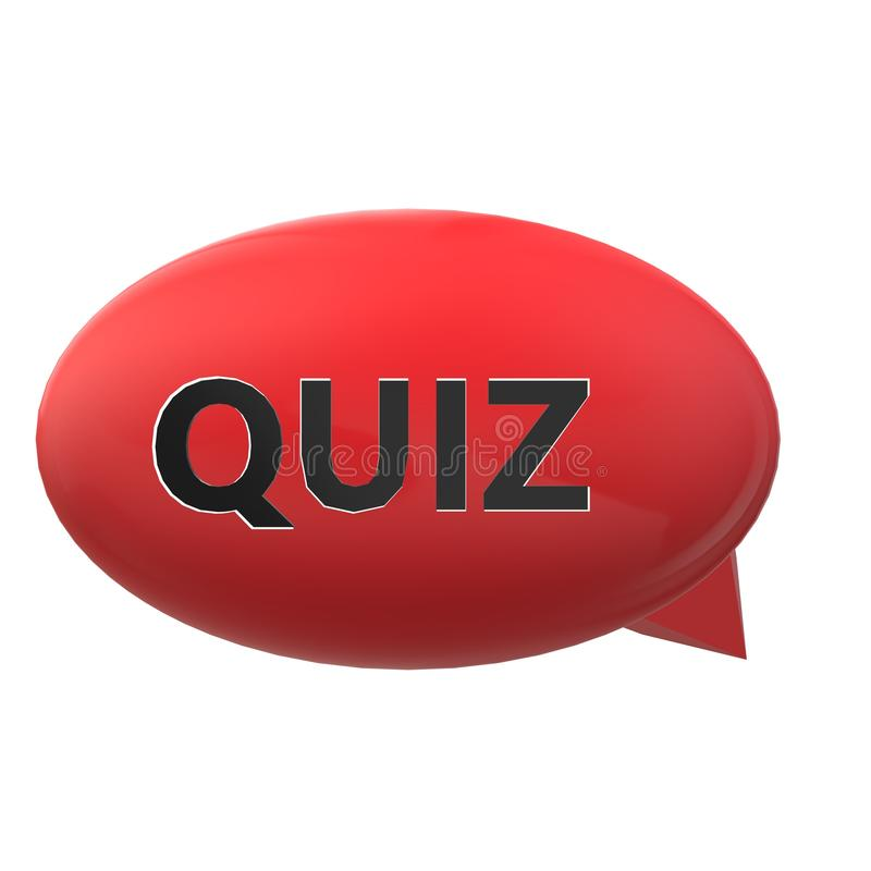 Spracheblase des Quiz 3D auf weißem Hintergrund Flache Art Quizsprache-Blasenikone für Ihren Websiteentwurf, Logo, App, UI quiz stock abbildung