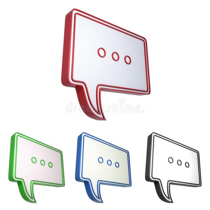 Spracheblase mit dem Symbol mit drei Punkten stock abbildung
