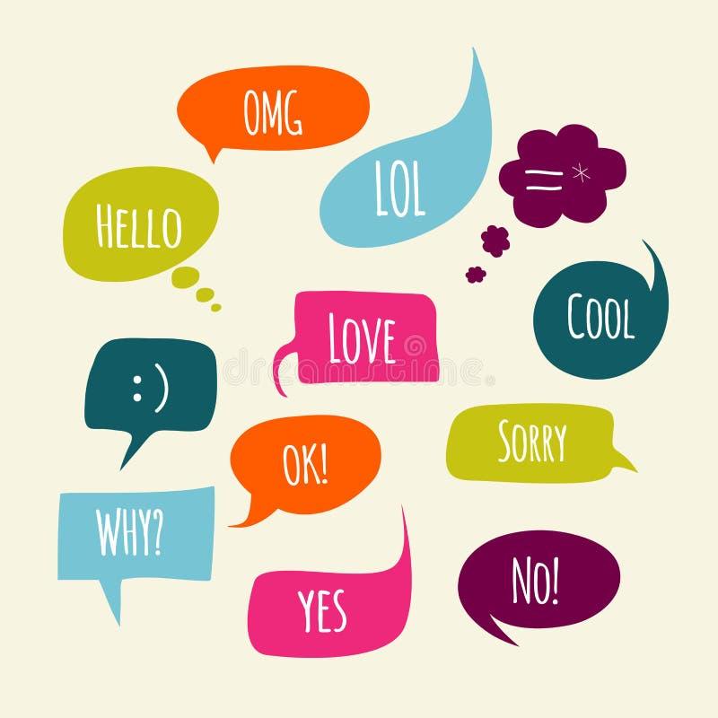 Spracheblasen eingestellt mit kurzen Mitteilungen stockfoto