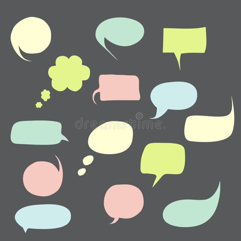 Spracheblasen eingestellt mit kurzen Mitteilungen lizenzfreie stockfotografie