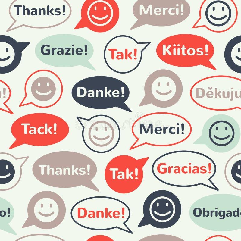 Spracheblasen mit danken Ihnen nahtloses Muster lizenzfreie abbildung