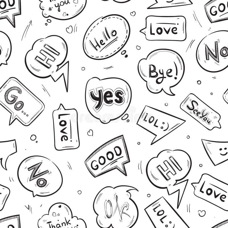 Spracheblasen mit Internet plaudern gezeichnetes nahtloses Muster des Vektors der Wörter Hand lizenzfreie abbildung