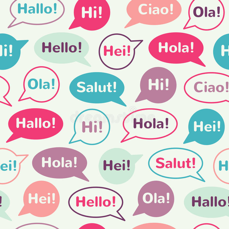 Spracheblasen mit nahtlosem Muster der Grüße lizenzfreie abbildung