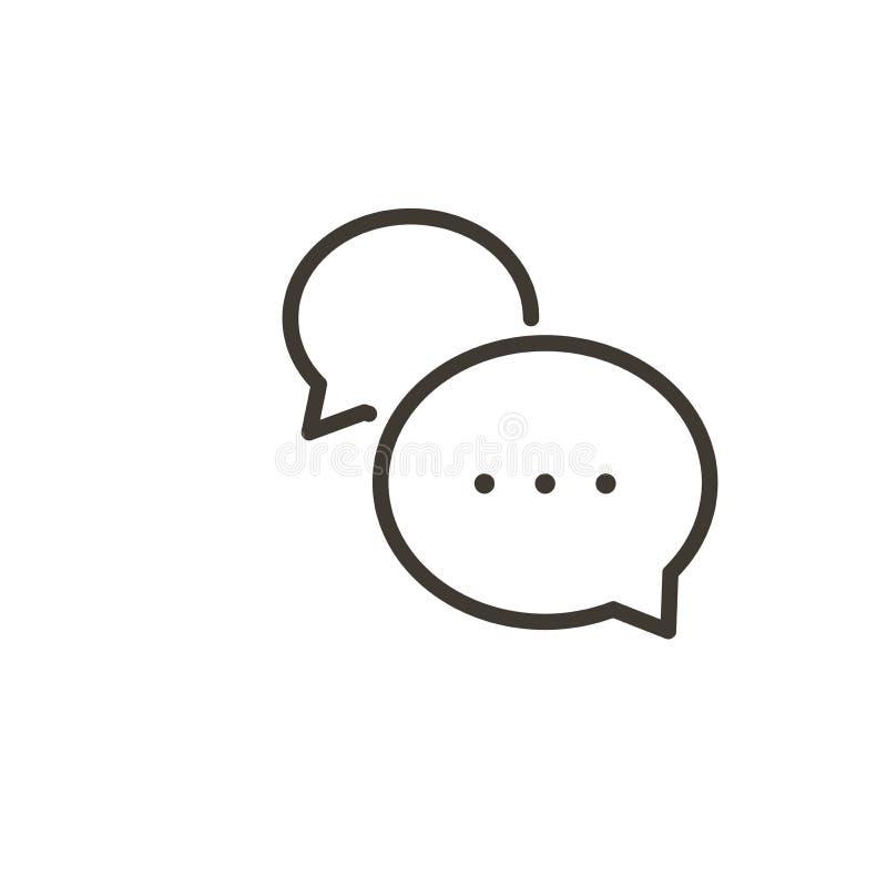 Spracheblaseninteraktionsikone Dünne Linie einfache Illustration des Vektors von einem Dialog mit minimalen Karikaturballonen lizenzfreie abbildung