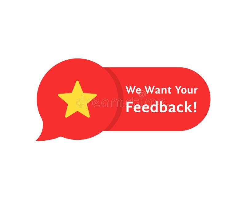 Spracheblasenrate, wie wir Ihr Feedback wünschen stock abbildung