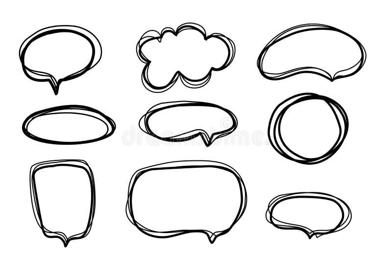Spracheblasensatz in der Skizzenart auf wei?em Hintergrund Verschiedene Formen dialogieren Wolke Zeichenfahne Zeile Auslegung luf stock abbildung