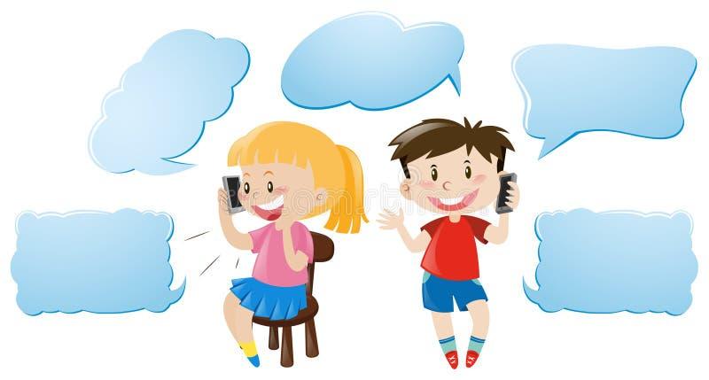 Spracheblasenschablone mit den Kindern, die am Telefon sprechen lizenzfreie abbildung