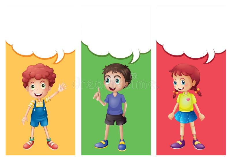 Spracheblasenschablone mit Kindern vektor abbildung