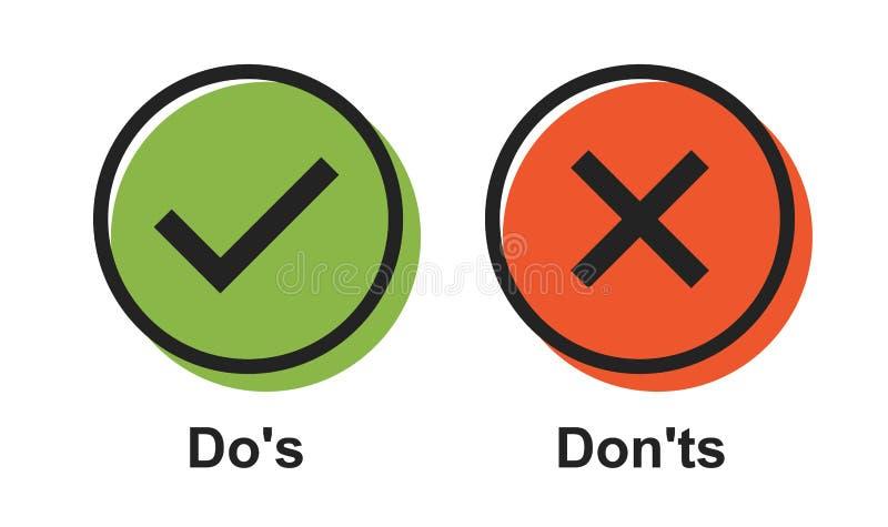 Spracheikonenvektorblase mögen DOS und donts Modernes Firmenzeichengrafikdesign der flachen einfachen Tendenz lizenzfreie abbildung