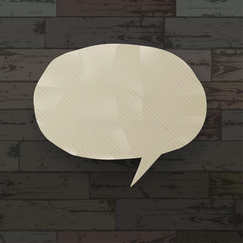 Spracheluftblase auf hölzernem Beschaffenheitshintergrund. lizenzfreie abbildung