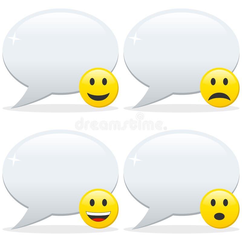 Spracheluftblasen und Emoticon stock abbildung