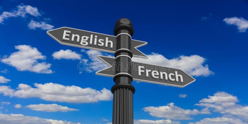 Sprachen der Wiedergabe 3d auf Verkehrsschildern lizenzfreie abbildung