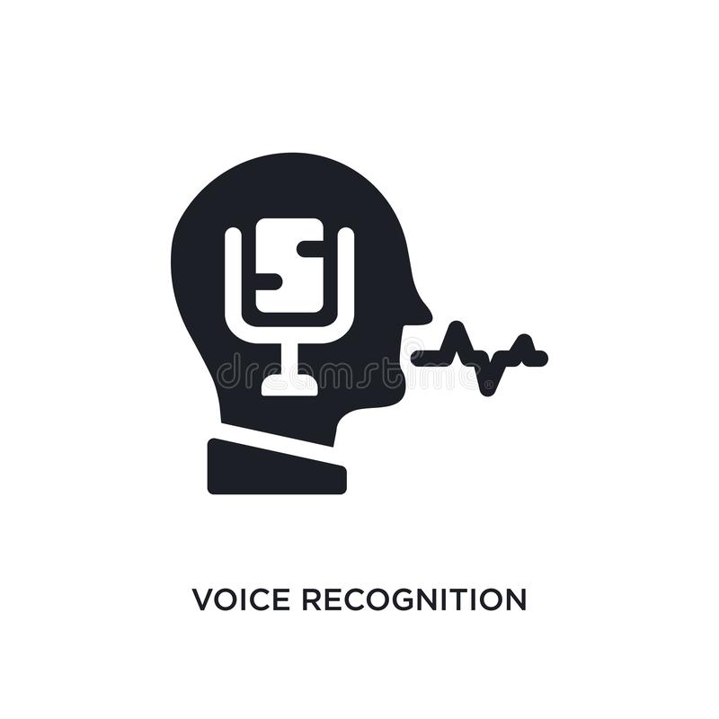 Spracherkennung lokalisierte Ikone einfache Elementillustration von den künstlichen intellegence Konzeptikonen Spracherkennung lizenzfreie abbildung