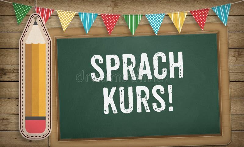 Sprachkurs, language course in German language. Word Sprachkurs, `language course` in German language stock illustration
