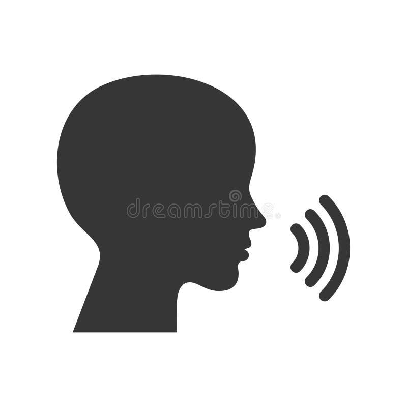 Sprachsteuerungssteuerikone Gesichts-Schattenbild mit Schallwelle-Logo Vektor stock abbildung