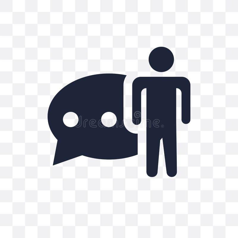 Sprachtransparente Ikone Sprachsymbolentwurf von der Tätigkeit stock abbildung