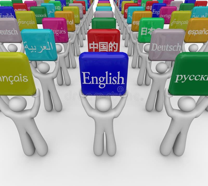Sprachwort-Zeichen gehalten von den Leuten, die fremdes Internat übersetzen vektor abbildung