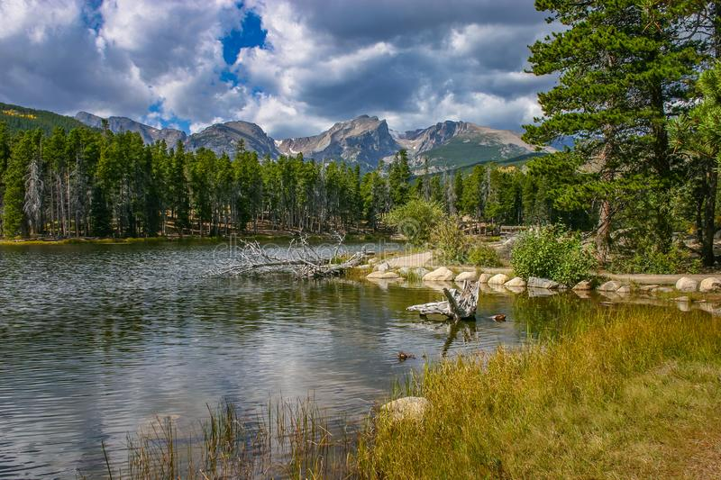 Sprague Lake, Rocky Mountain National Park. A nature view from the shore Sprague Lake, Rocky Mountain National Park. Colorado, USA stock image