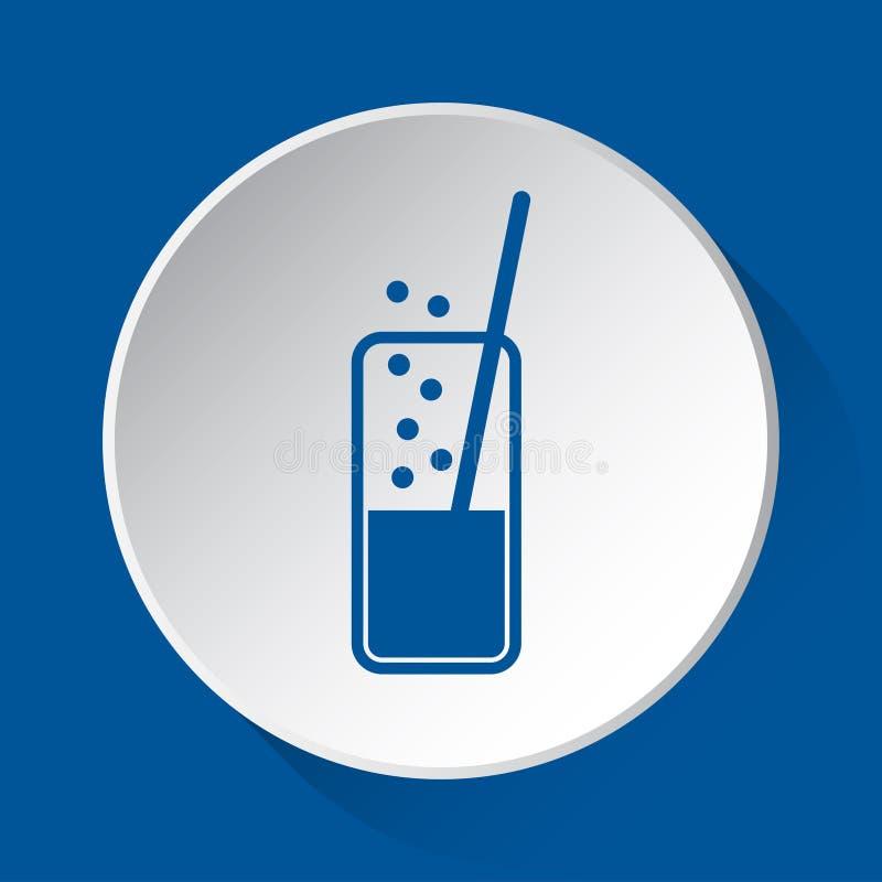 Sprankelende drank, stro - blauw pictogram, witte knoop vector illustratie