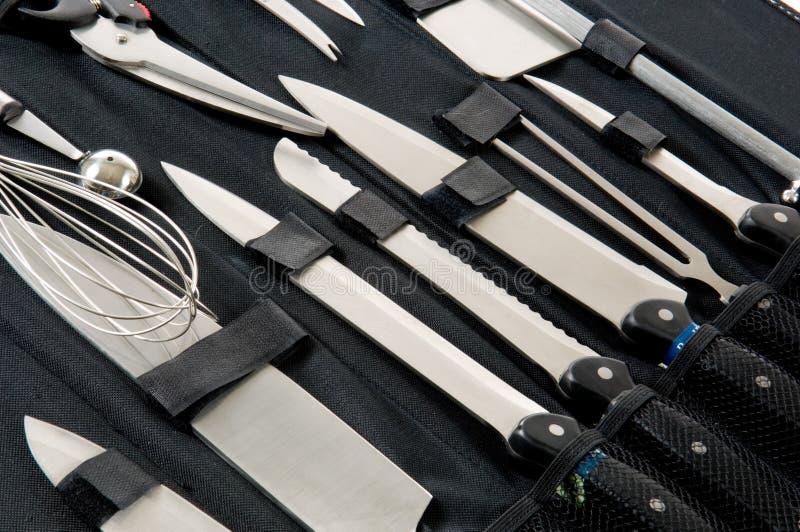 sprawa czarnego kucharza zawodowe jest nóż zestaw obraz stock