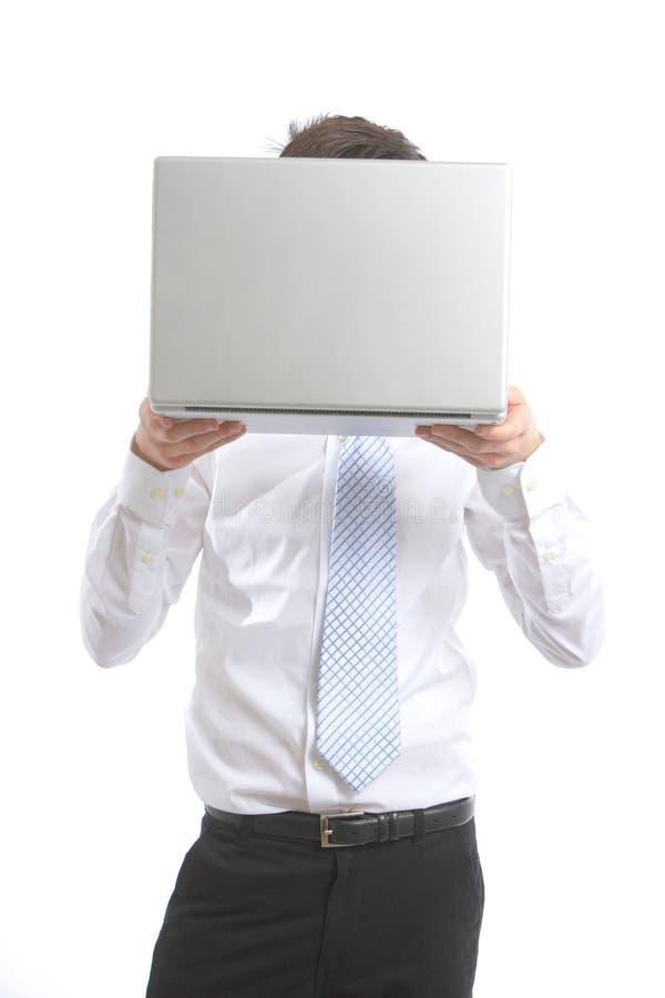 sprawa głowy jego laptopa człowieka niedaleko zdjęcia stock