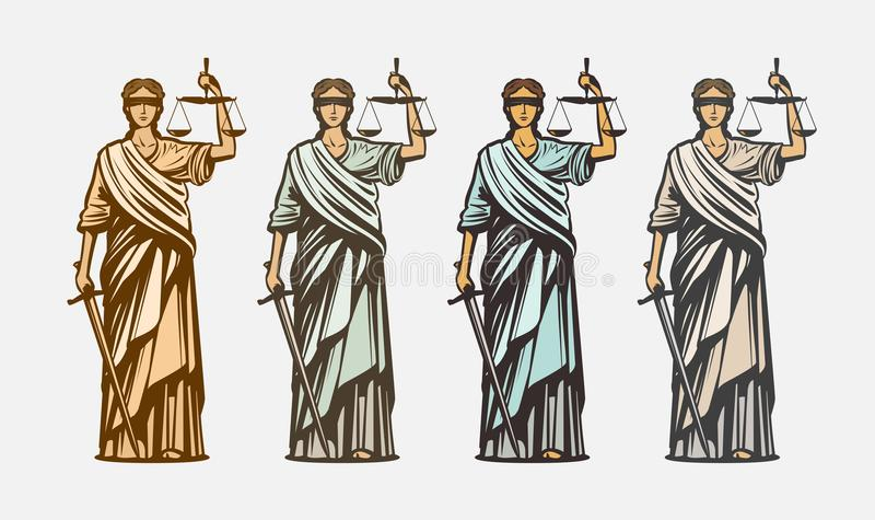 Sprawa sądowa, sędziego symbol Damy sprawiedliwość, osądzenie, defence, justitia pojęcie Rocznika wektoru ilustracja ilustracja wektor