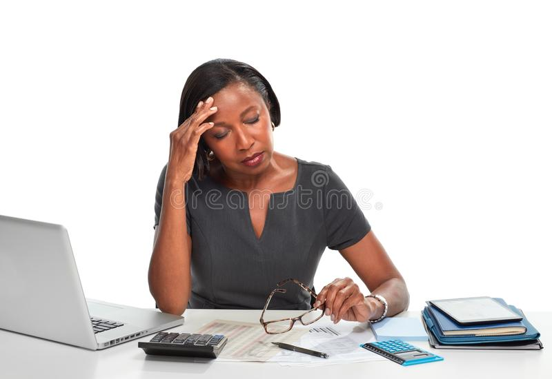 sprawa zmęczona kobieta zdjęcia stock