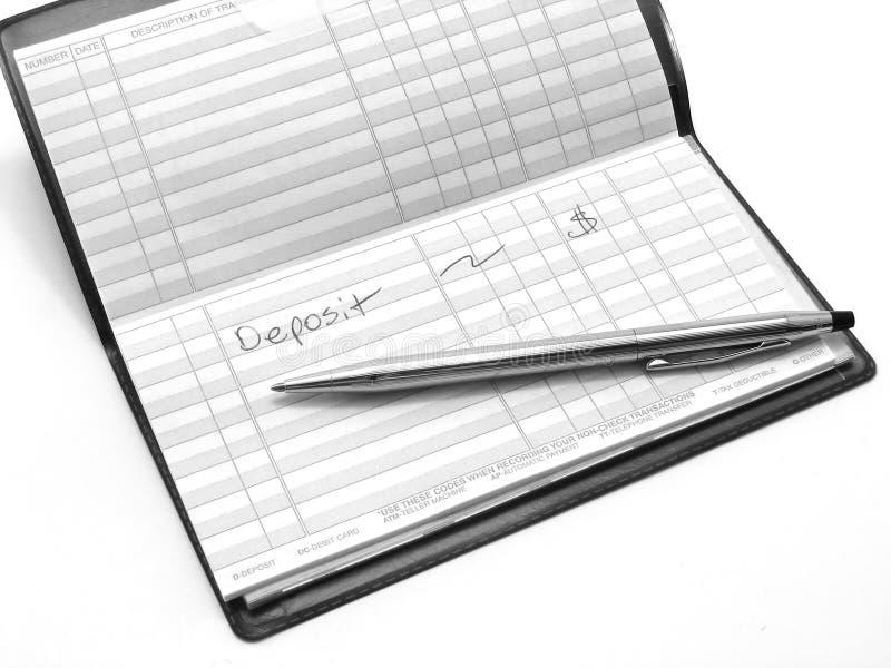 sprawdź rejestr depozytów obraz stock
