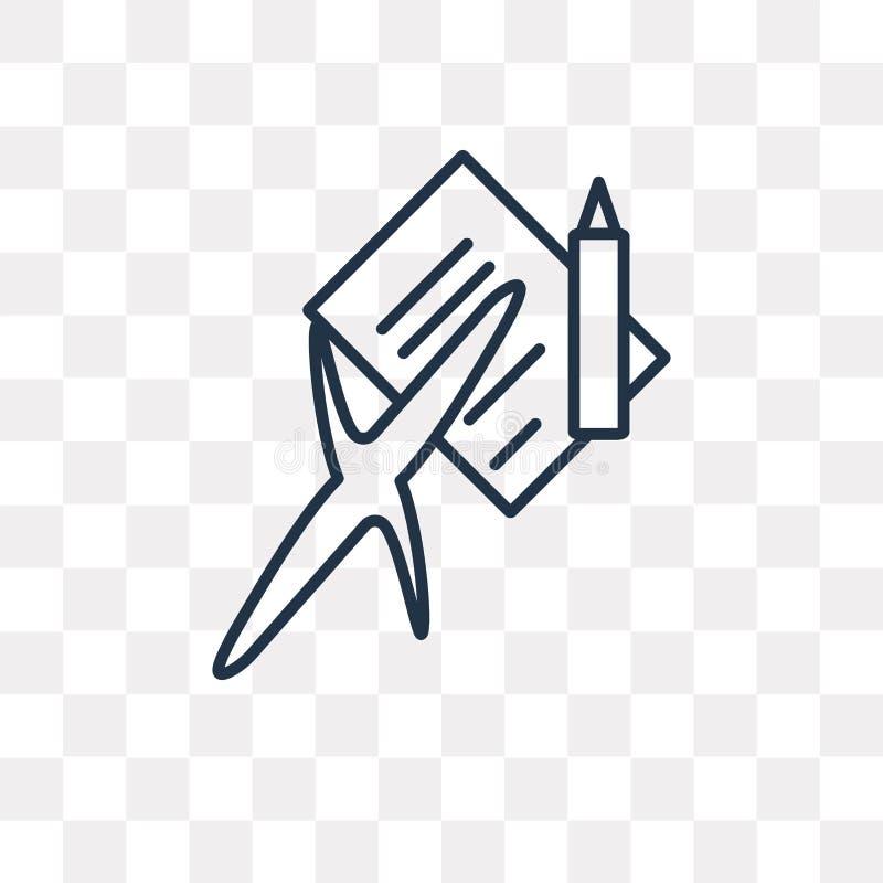 Sprawdzać wektorowa ikona odizolowywająca na przejrzystym tle, liniowy C ilustracja wektor