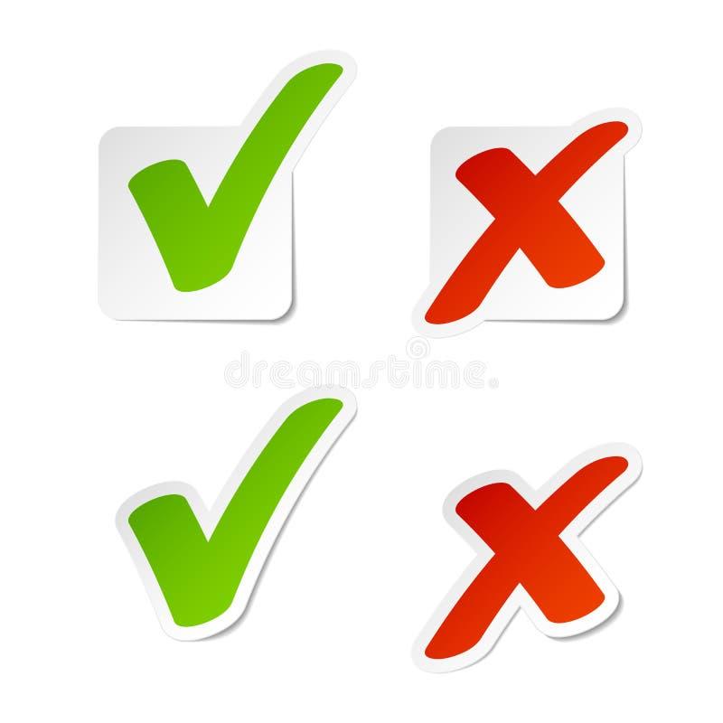 sprawdzać zielonej ilustracyjnej oceny czerwonego majcherów wektor ilustracji