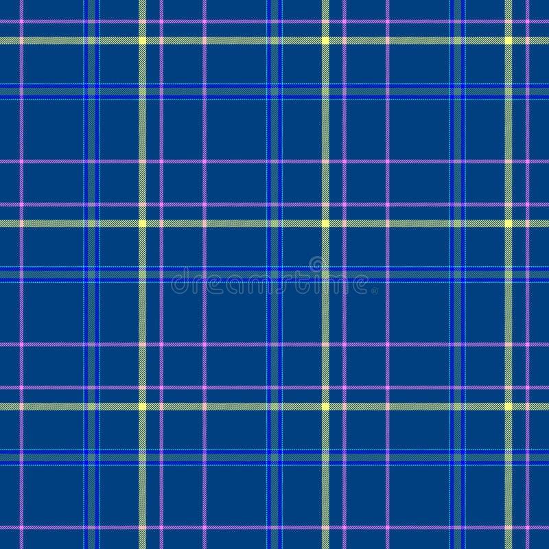 Sprawdza diamentowej tartan szkockiej kraty tkaniny tekstury bezszwowego tło - błękit, kolor żółty i menchie, barwimy royalty ilustracja