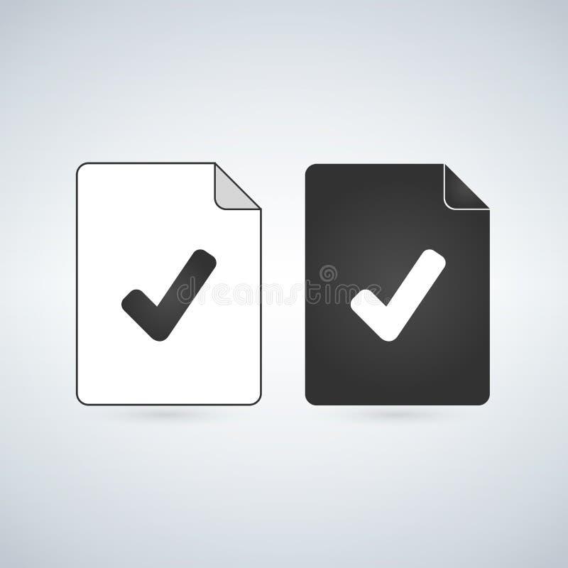 Sprawdza dokumentu wektoru ikonę Mieszkanie znak dla mobilnego pojęcia i sieć projekta Papierowa doc prosta stała ikona Symbol, l royalty ilustracja